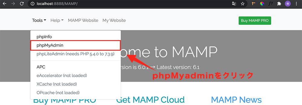 手順③:phpMyadminを開く