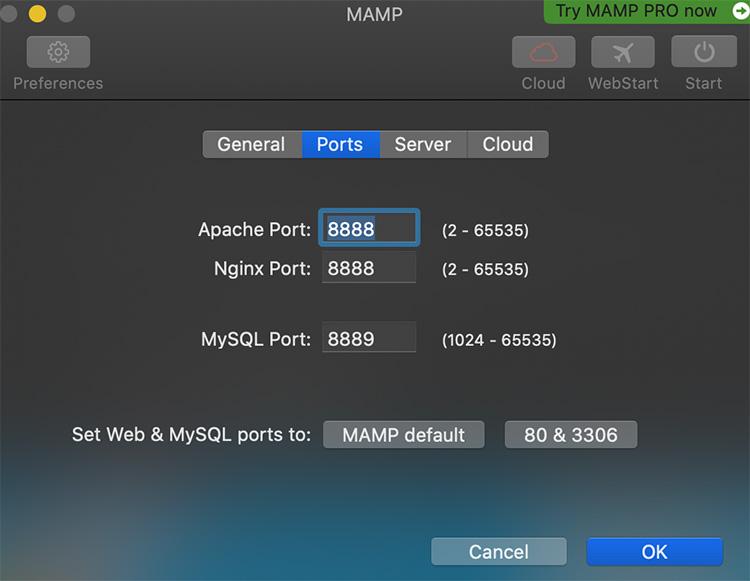 【Ports】の設定