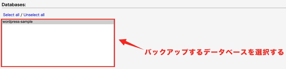 手順⑤:データベースを選択