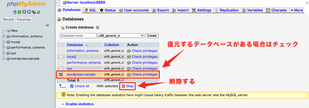 手順①:復元対象のデータベースを削除