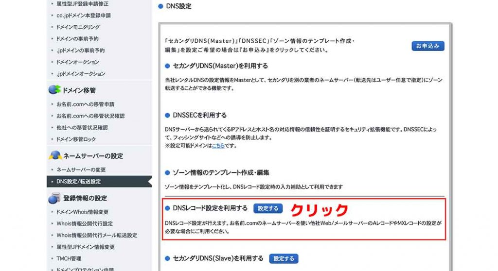 手順③:【DNSレコード設定を利用する】をクリック